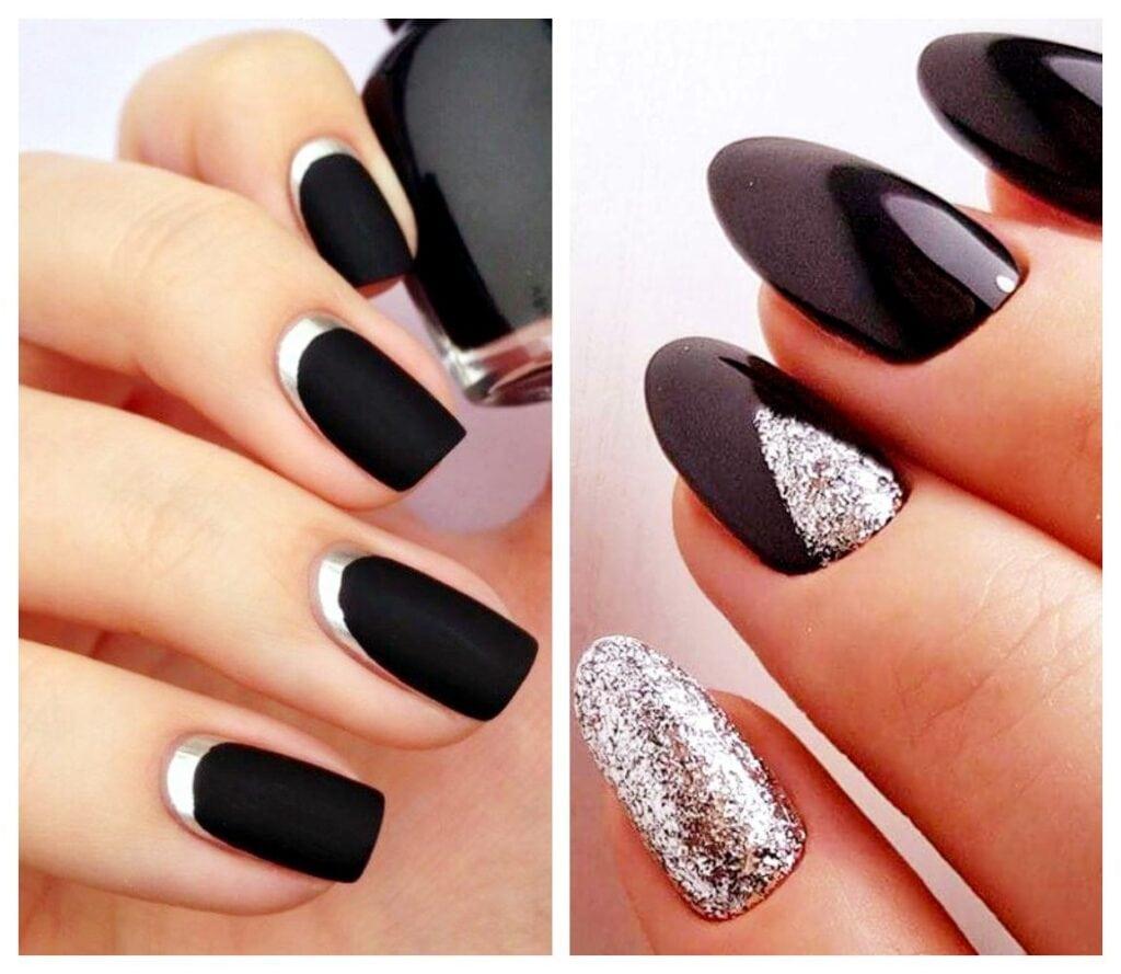 Combinación uñas de gel negras con plata