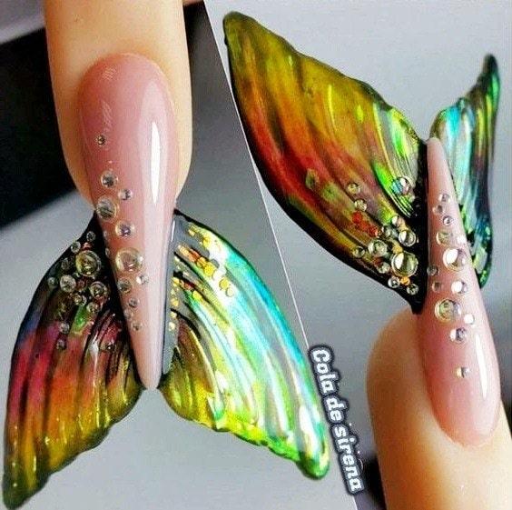 diseño uñas de gel sirena