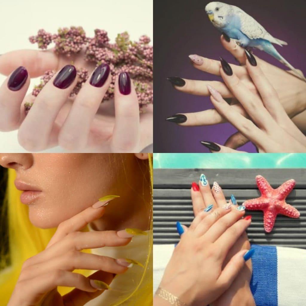 Collage de unñas de gel y uñas acrílicas