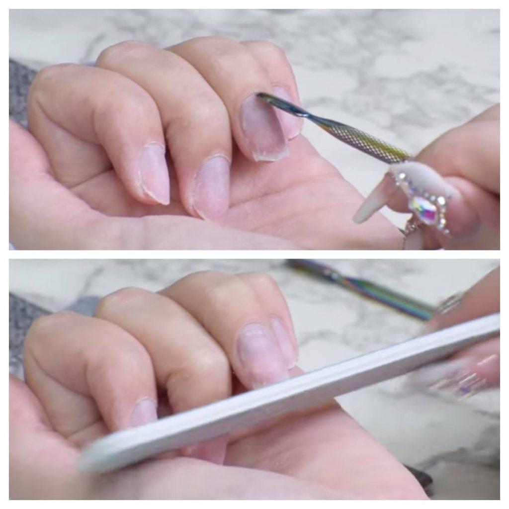 cortar y limar para hacer uñas acrílicas