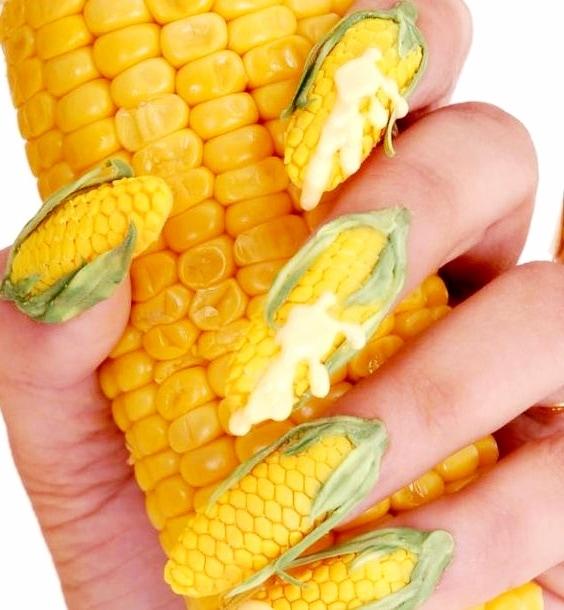 diseño uñas acrílicas maíz