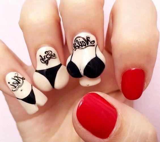 diseño uñas acrílicas ropa interior